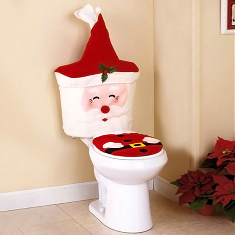 2pcs santa toilet seat cover bathroom set christmas xmas for Bathroom xmas decor