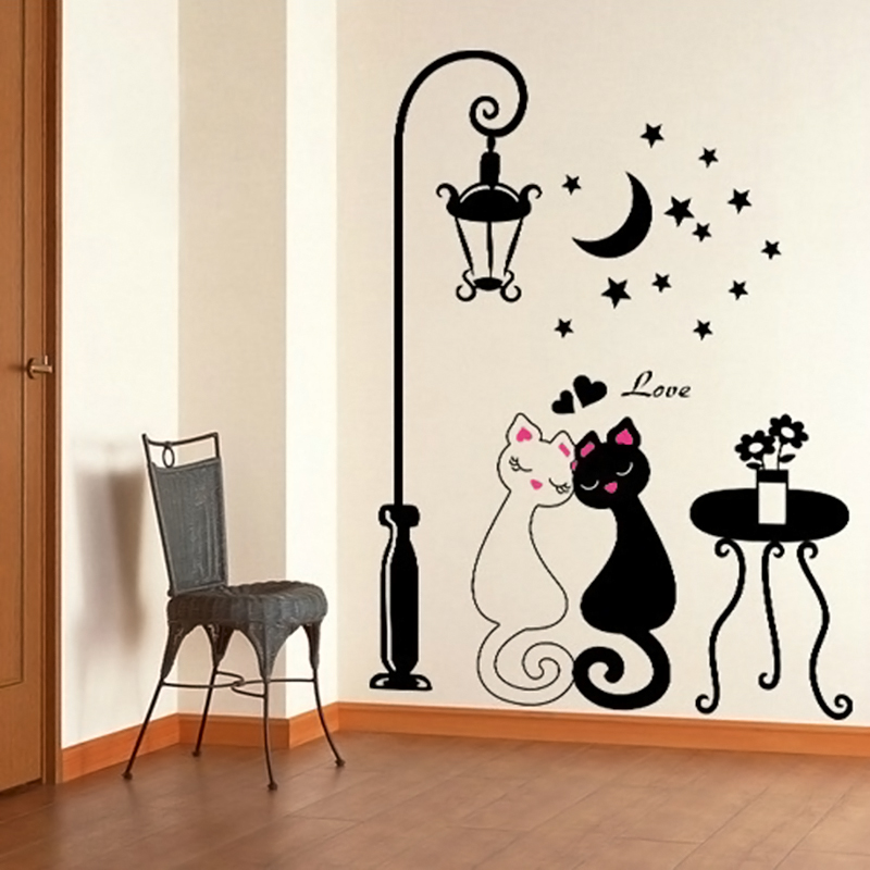 Cute Wall Decor For Living Room : Cute d diy couple cat removable wall decal stickers art