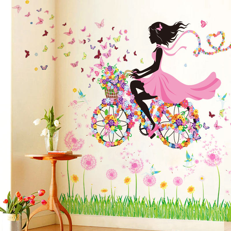 fahrrad blumen m dchen wandaufkleber wandsticker wandtattoo kinderzimmer sch n ebay. Black Bedroom Furniture Sets. Home Design Ideas
