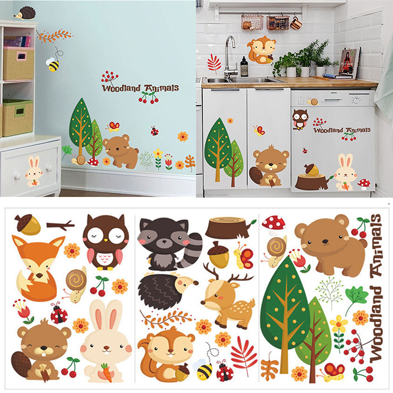 Removable Woodland Animals Vinyl Wall Stickers Mural DIY