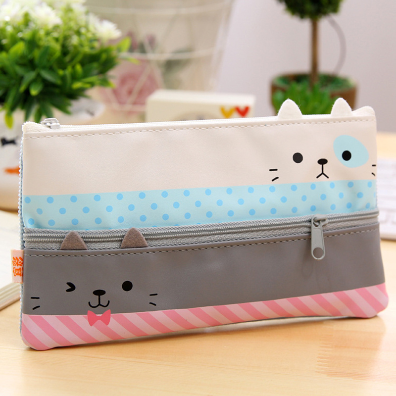 Cat Cute Kid Stationary Pencil Case Cosmetic Makeup Coin ...