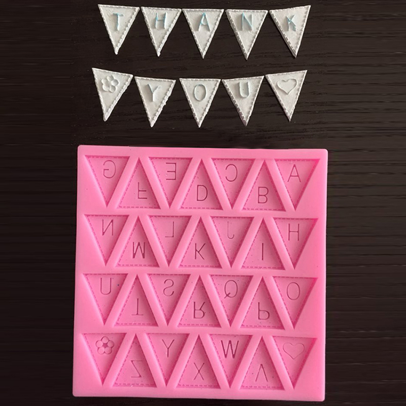 Cake Decorating Letter Cubes : Silicone Fondant Letter Bunting Flag Mould Cake Sugarcraft ...