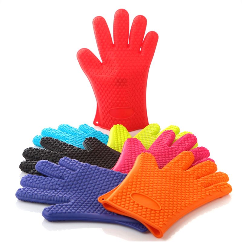 Heat Resistant Silicone Rubber Kitchen Gloves Oven Gloves
