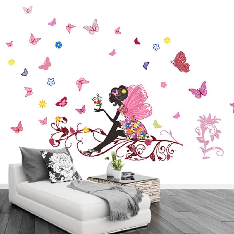 Flower Fairy Butterfly Girls Cartoon Kids Bedroom Room Decor Wall Sticker Decal Ebay