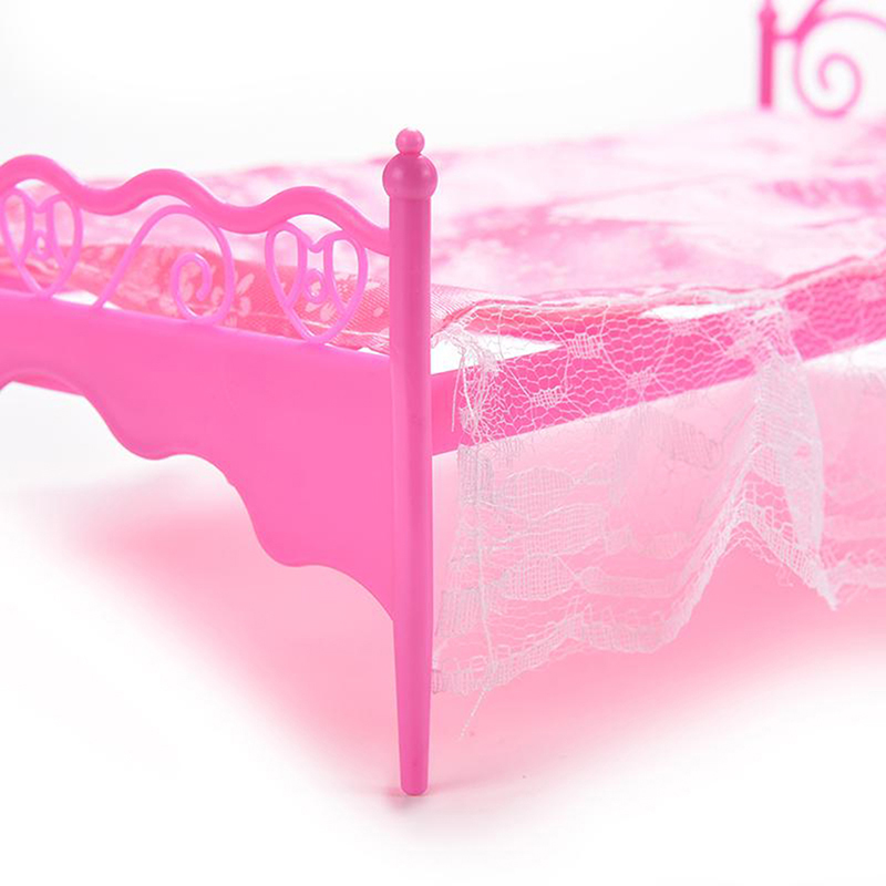 1pc plastic miniatures bedroom furniture pink bed for barbie dolls dollhouse bed ebay Plastic bedroom furniture