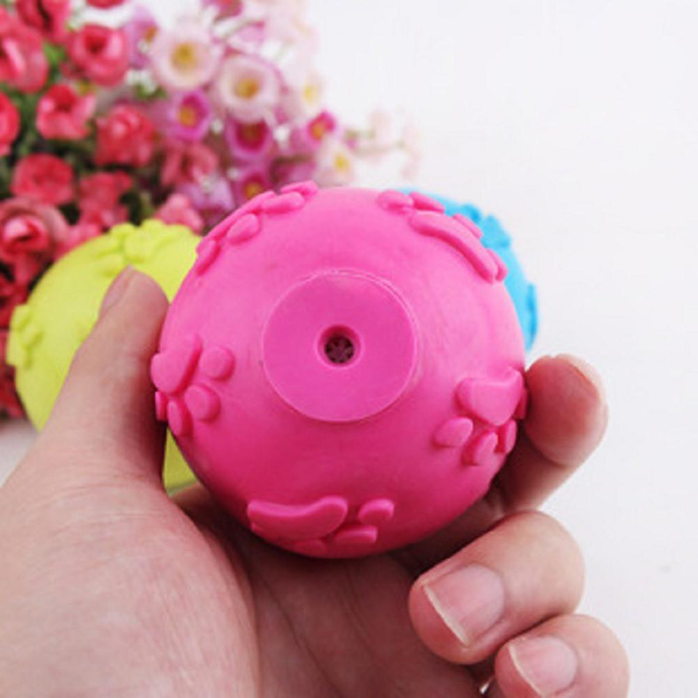 Rubber Ball Dog Toy : Funny pet dog rubber ball teeth toy chew squeaker squeaky