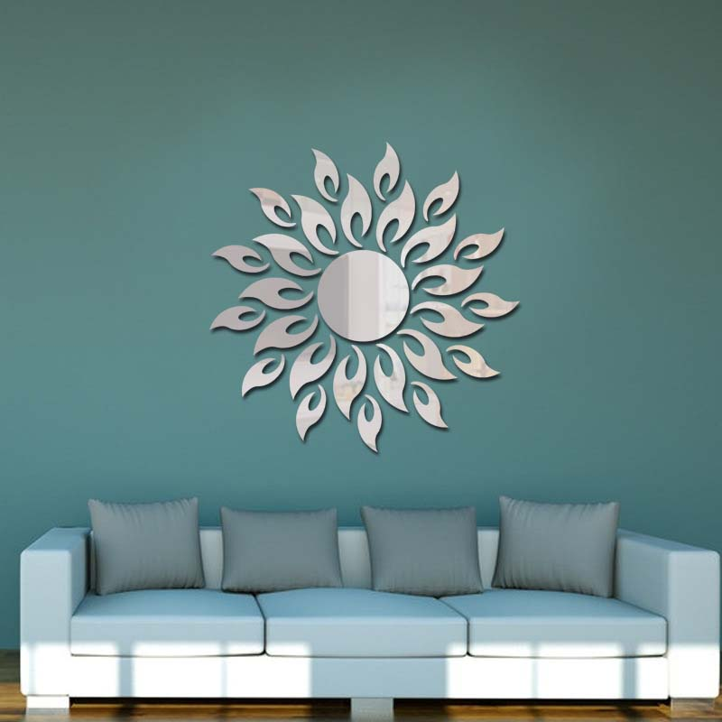 3d Removable Acrylic Sun Mirror Effect Wall Sticker Decals