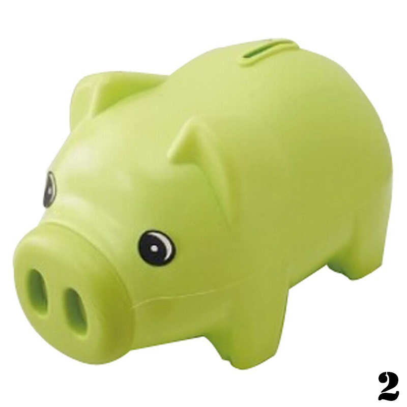 Blue plastic piggy bank coin money cash collectible saving for Plastic piggy banks for kids