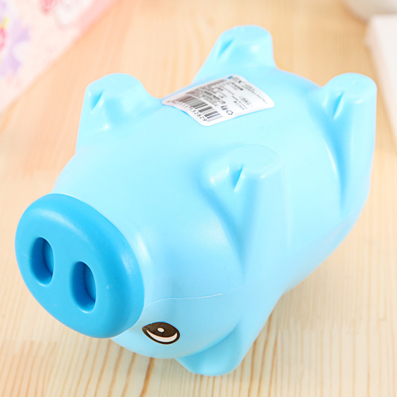Blue plastic piggy bank coin money cash collectible saving Plastic piggy banks for kids