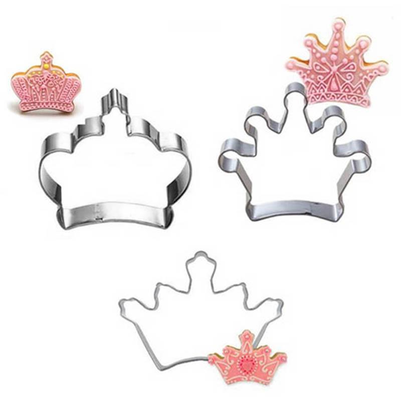 Cake Decorating Crown Cutter : 3pcs/set Stainless Fondant Cake Cookie Crown Baking Mold ...