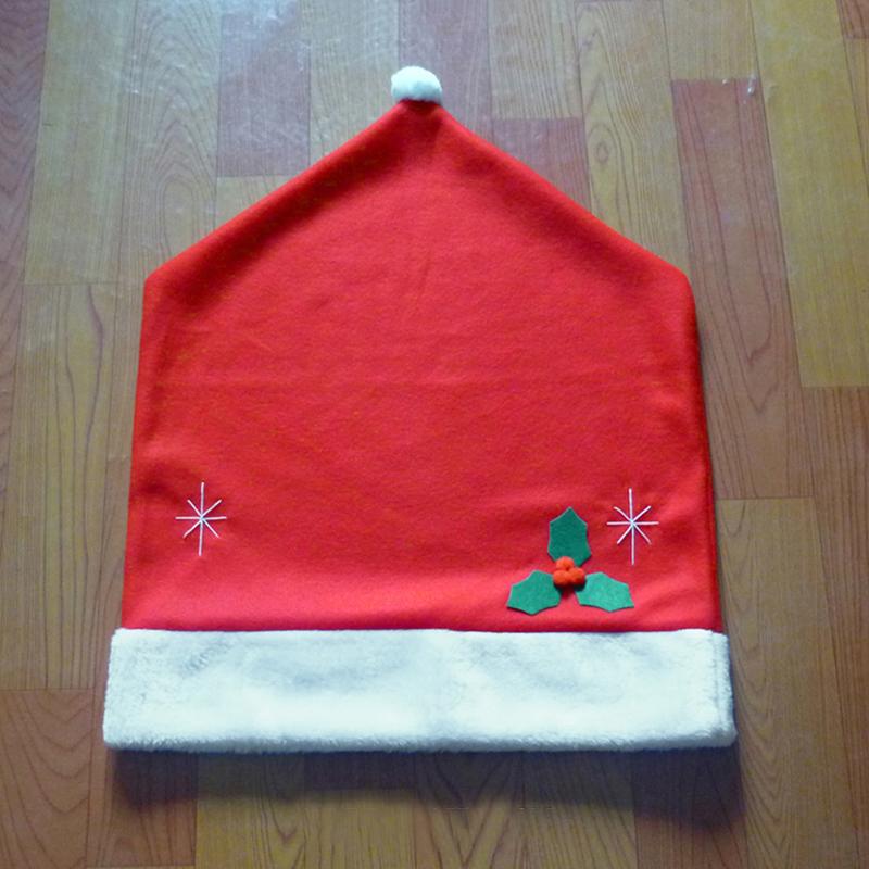 Xmas Santa Claus Hat Chair Back Cover Ornaments Christmas