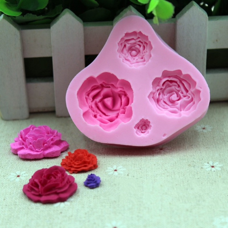Fondant Cake Molds Uk : 3D Silicone Rose Flower Fondant Cake Decorating Mold ...