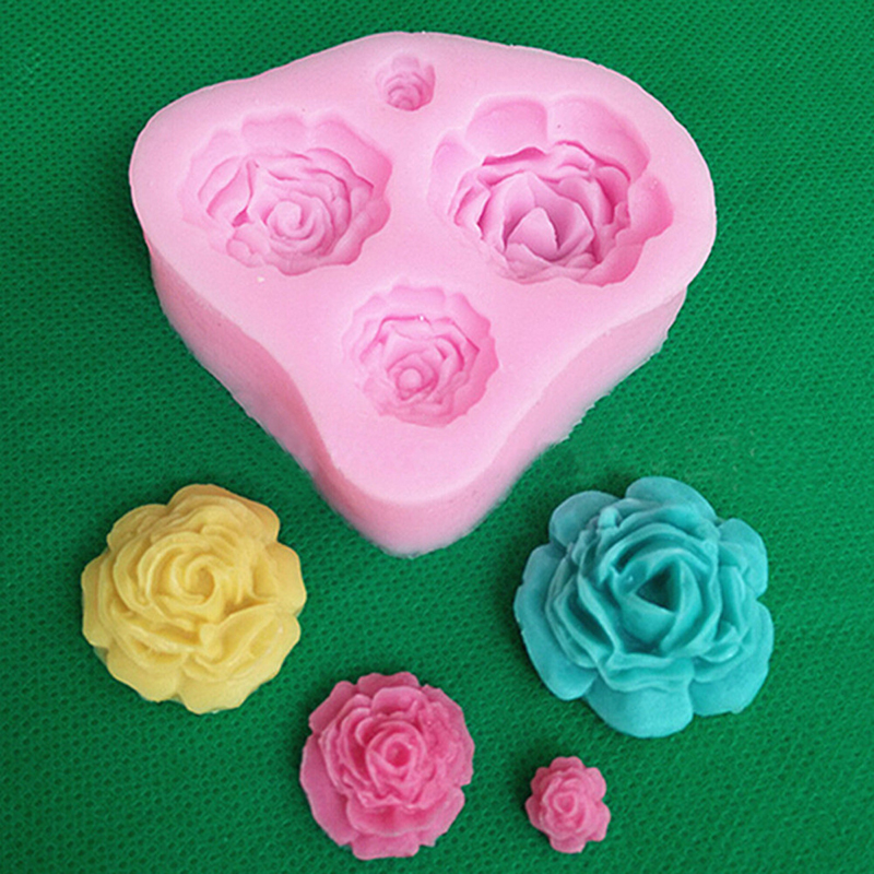 3D Silicone Rose Flower Fondant Cake Decorating Mold ...