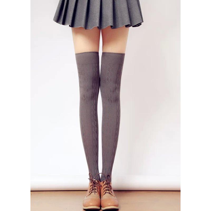 neuf chaussettes tricoter jambi res gu tre genou longue bas collant haute femme ebay. Black Bedroom Furniture Sets. Home Design Ideas