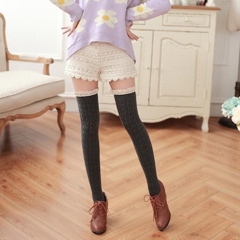 tricoter chaussettes dentelle jambi res overknees longue bas collant haute femme ebay. Black Bedroom Furniture Sets. Home Design Ideas