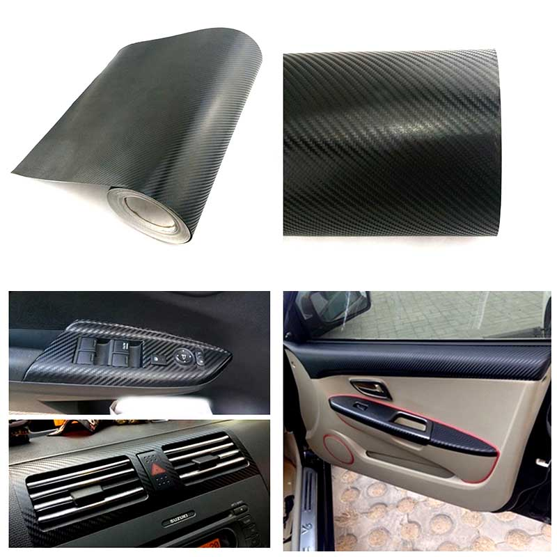 3d car interior accessories interior panel black carbon fiber vinyl wrap sticker. Black Bedroom Furniture Sets. Home Design Ideas