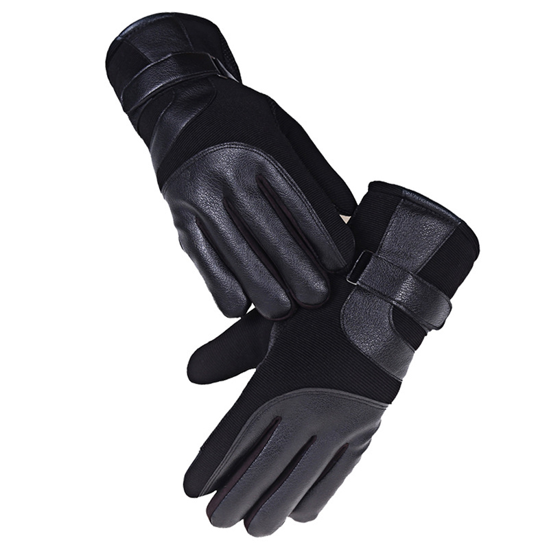 Mens Gloves Leather Winter Models Plus Thick Velvet Warm ...