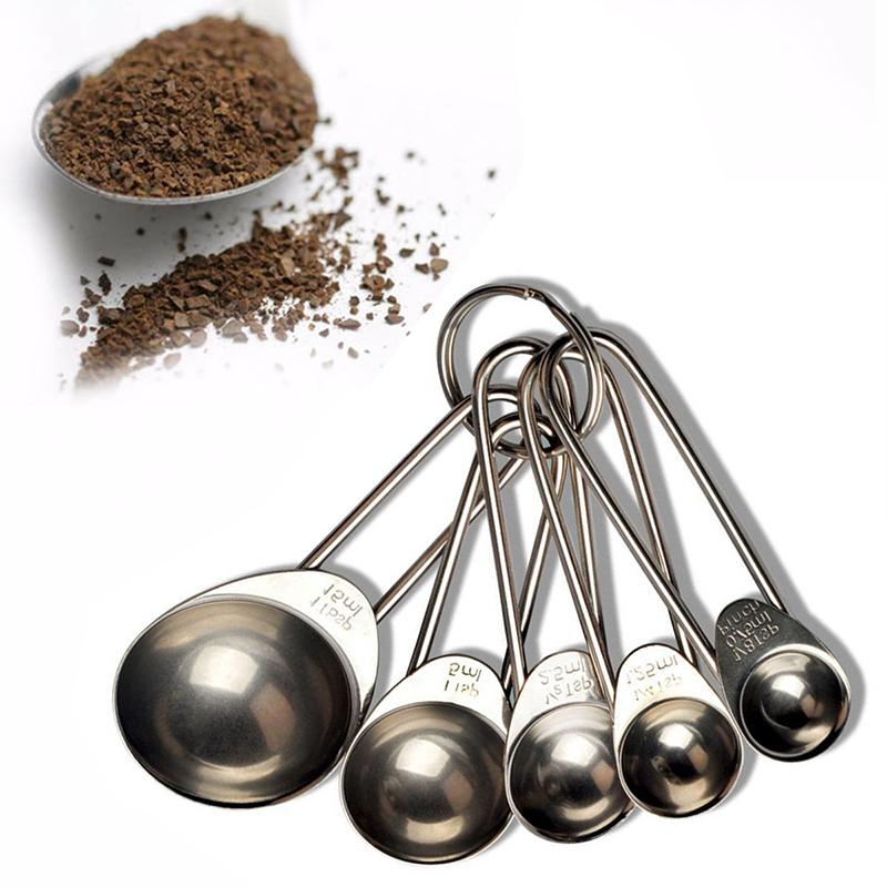 stainless steel measuring spoons tea coffee measure utensil cooking 5pcs set ebay. Black Bedroom Furniture Sets. Home Design Ideas