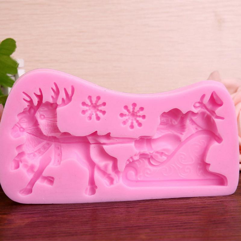 Cake Mold 3D Santa Elk Sled Fondant Sugarcraft Mould ...