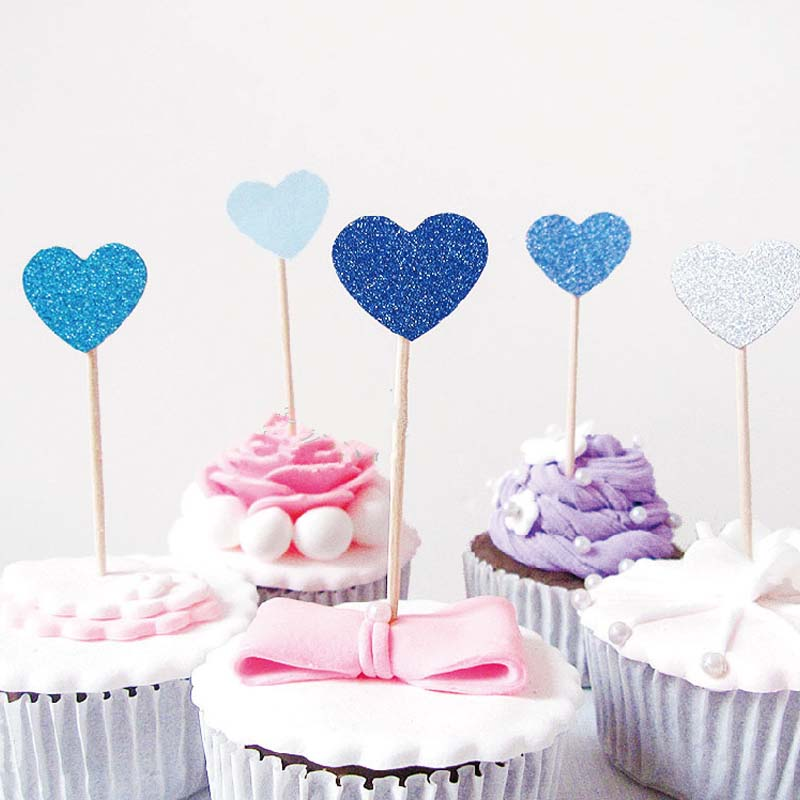 5pcs heart shaped cake topper supplies baby shower for Heart shaped decorations home