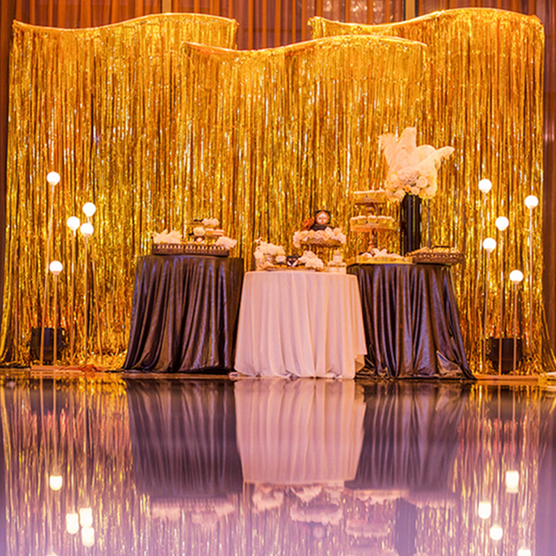 New Shimmer Foil Glitter Tinsel Metallic Backdrop Curtain Window Party Wedding Ebay