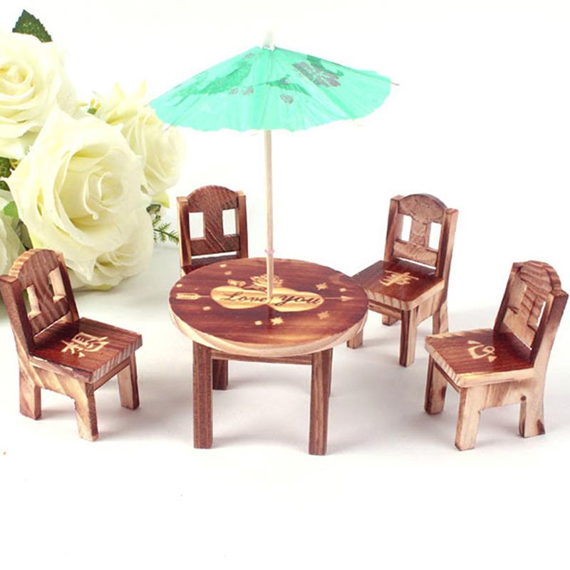 dollhouse miniature furniture mini dining room table 4 chairs toys set