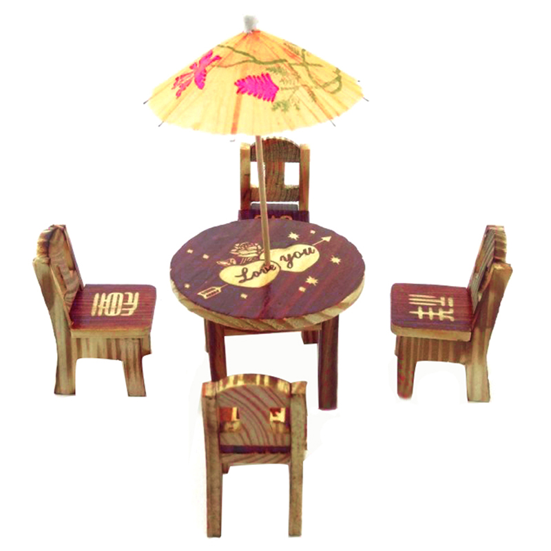 Dollhouse miniature furniture garden mini dining room table 4 chairs toys ebay - Dollhouse dining room furniture ...