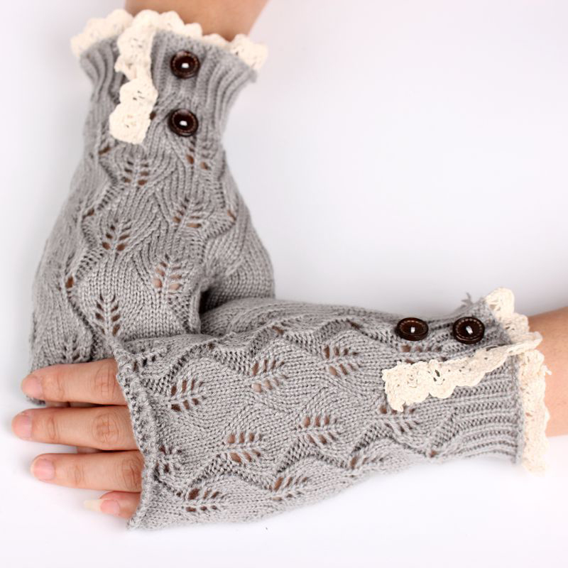 Knitting Pattern For Lace Gloves : Winter Warmer Women Lace Knit Fingerless Gloves Crochet Button Hand Wrist Mit...