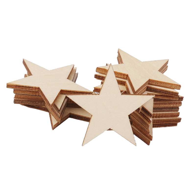 25 pcs natural unfinished blank wood wooden stars star diy for Unfinished wood pieces for crafts