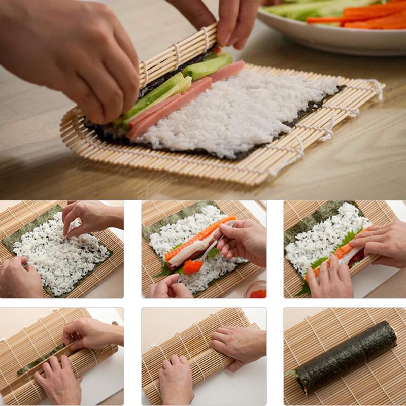 sushi maker kit rice roll bamboo mold kitchen diy mould roller mat rice paddle ebay. Black Bedroom Furniture Sets. Home Design Ideas