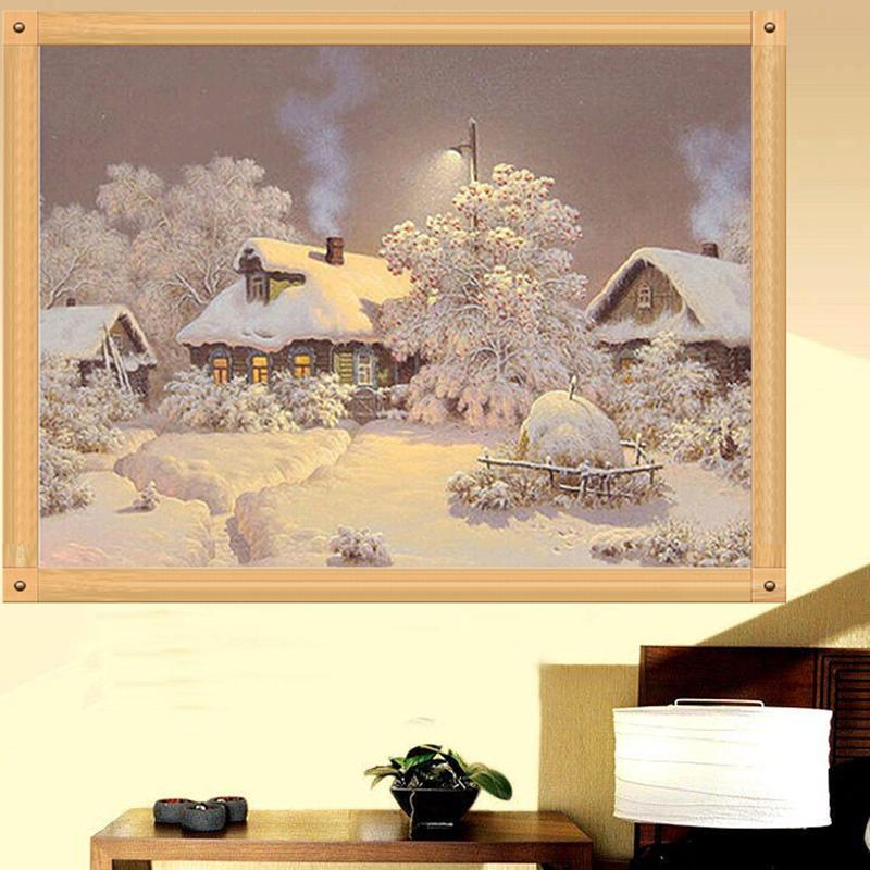 Diy 5d Diamond Snow House Painting Cross Stitch Kit Embroidery Home Decor Craft Ebay
