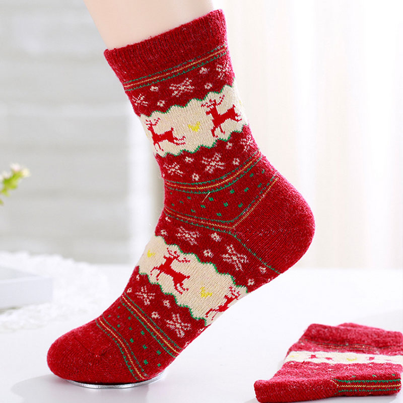 Mens Womens Cute Christmas Socks Warm Winter Wool Socks