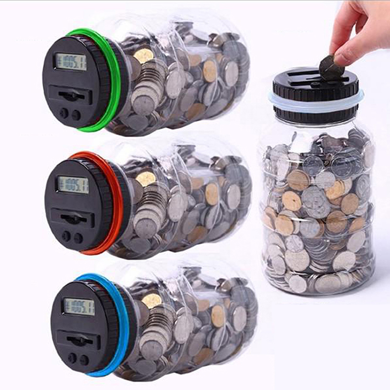 Digital coin saving money box jar automatic electronic counting piggy bank new - Coin bank that counts money ...