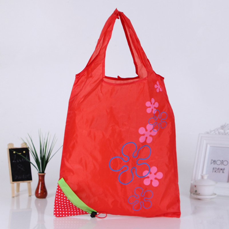eco nylon storage handbag cute strawberry foldable shopping tote reusable bags ebay. Black Bedroom Furniture Sets. Home Design Ideas