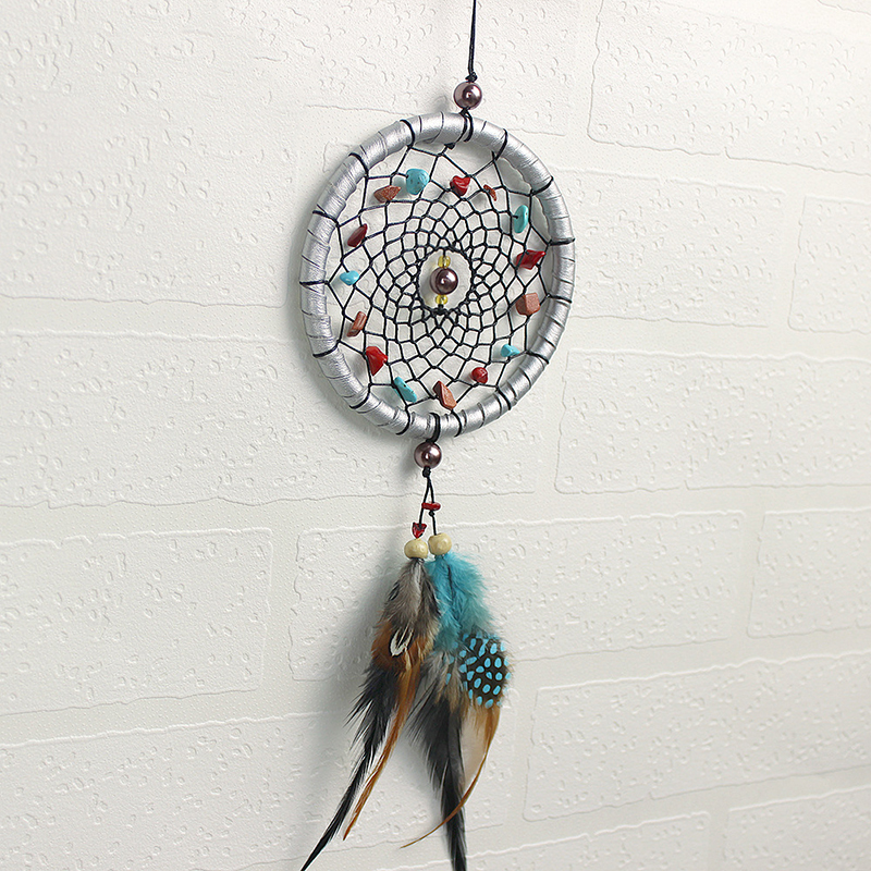 Handmade Dream Catcher With Leather Feather Beads Hanging
