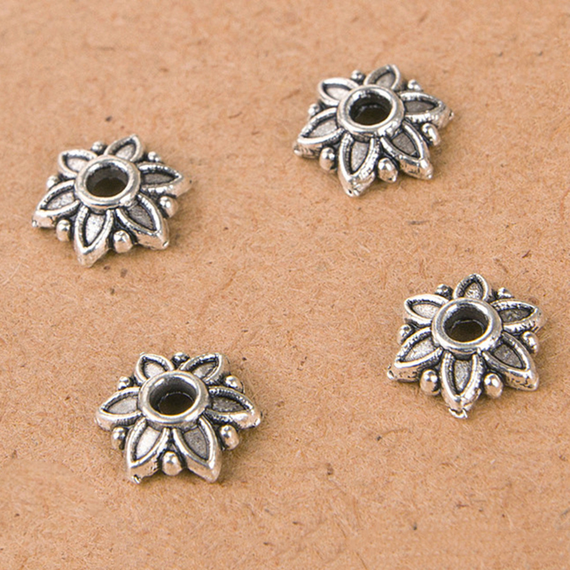 bulk 100pcs tibet silver flower beads loose spacer craft. Black Bedroom Furniture Sets. Home Design Ideas