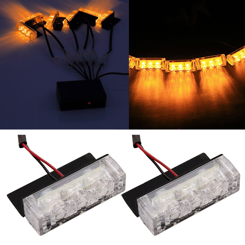 car 18 led amber strobe emergency flashing police warning. Black Bedroom Furniture Sets. Home Design Ideas