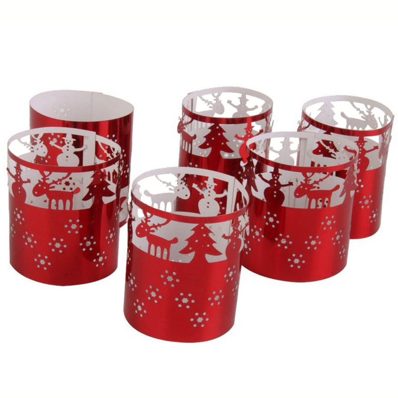 6pc Christmas Tea Light Candles Holders Paper Candle