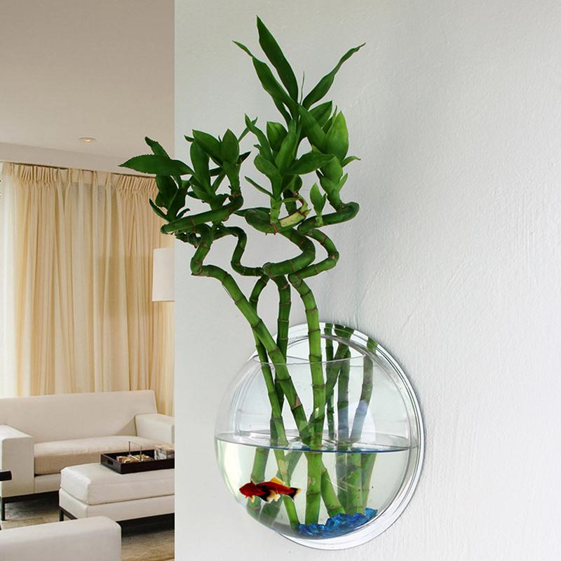 Wall mounted hanging fish tank aquarium acrylic plant pot for Wall hanging fish tank