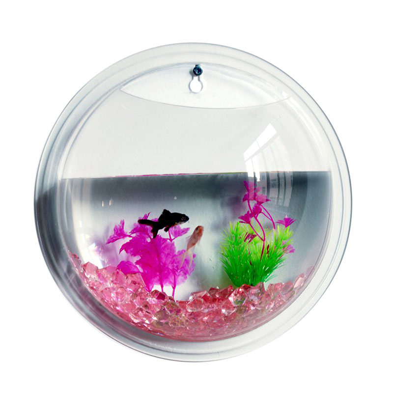 Wall Hanging Glass Fish Bowl Tank Mounted Home Decoration