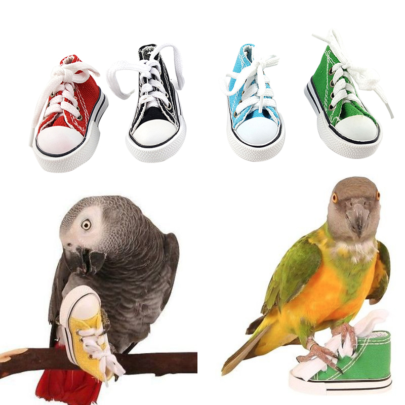 Bird Cage Toys : Mini canvas shoes bird toys parrot cage craft