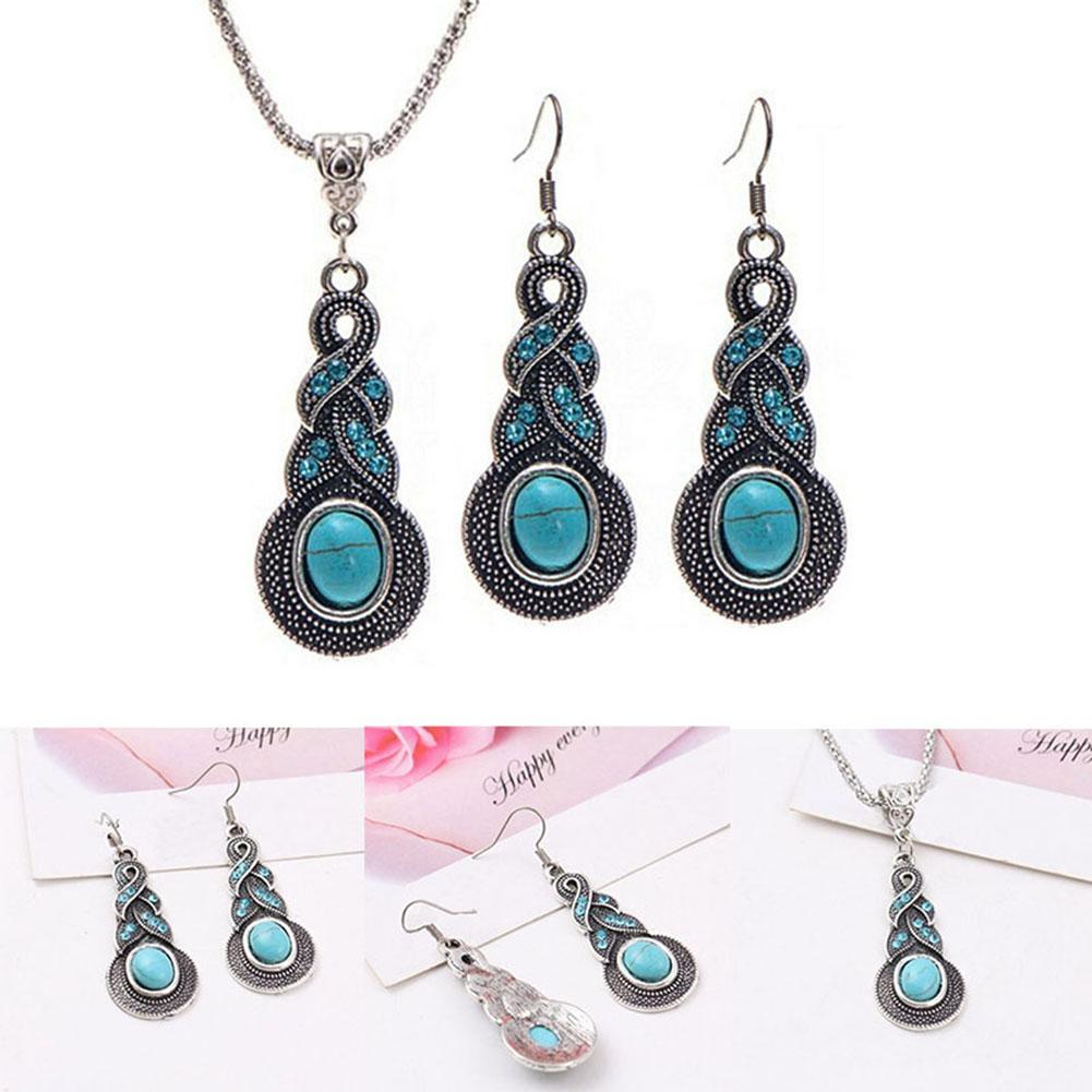 1 set necklace 1 pair earring vintage turquoise necklace for Turquoise colored fashion jewelry