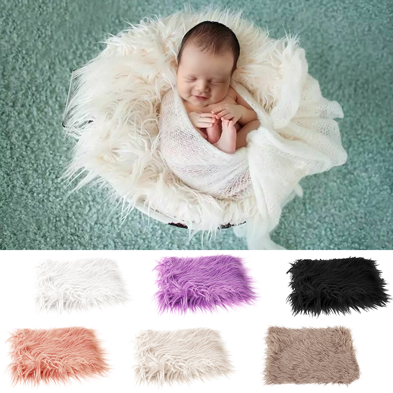 Newborn Baby Soft Brown Faux Fur Rugs Mat Blanket