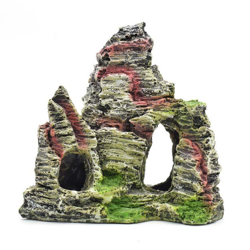 6 style resin aquarium rockery ornament mountain cave for Aquarium mountain decoration