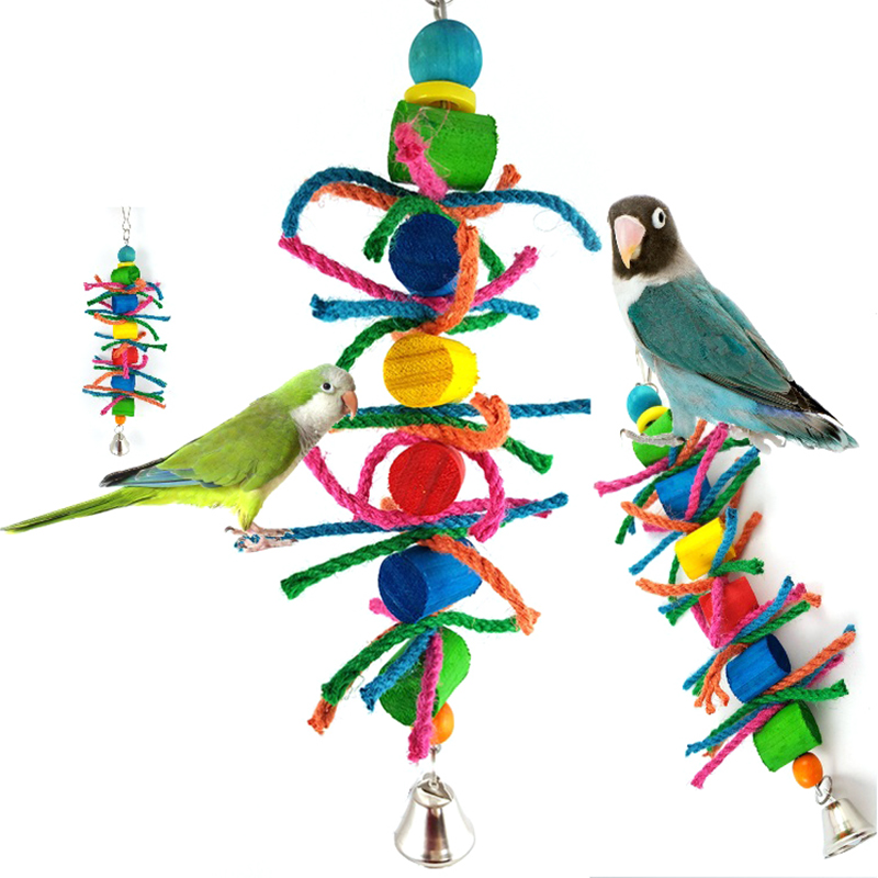 Parakeet Chew Toys : Cute bird bite rope parrot chew toys hanging cockatiel