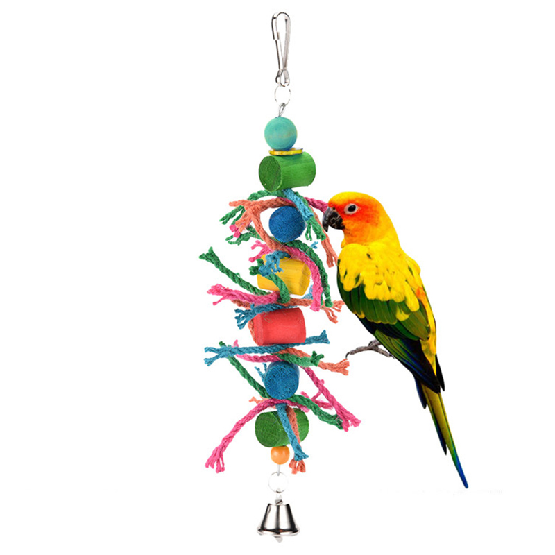 Pet Bird Toys : Parrot pet bird chew cages hang toys wood large rope cave