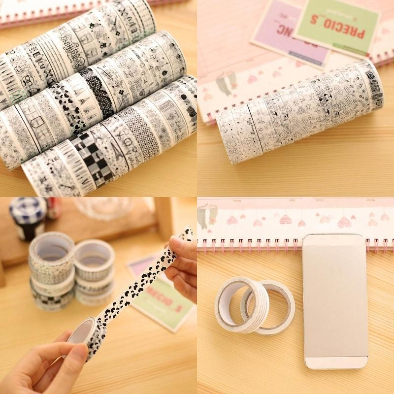 10 rolls washi paper scrapbooking decorative sticker for Decorative paper rolls