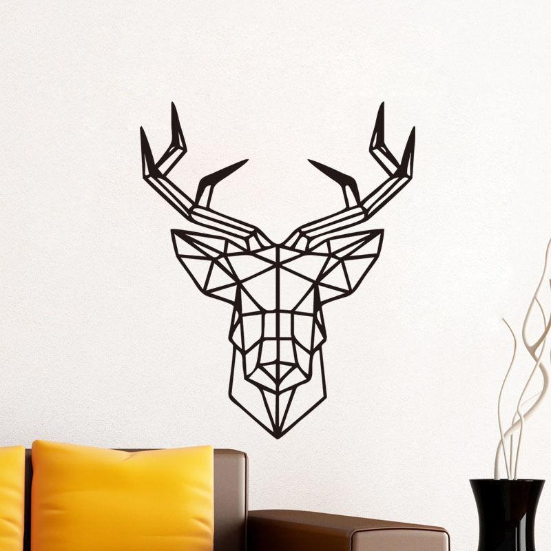 Geometric deer head vinyl wall sticker removable decal for Deer mural decal