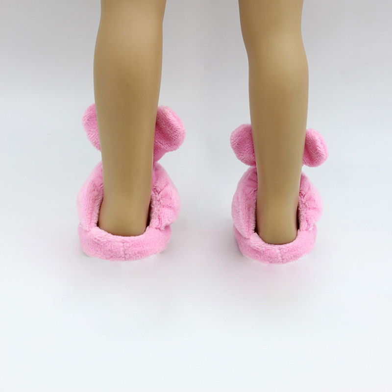 """Pink Bunny Slip On Slippers Shoes For 18"""" Doll Toy Bedroom"""