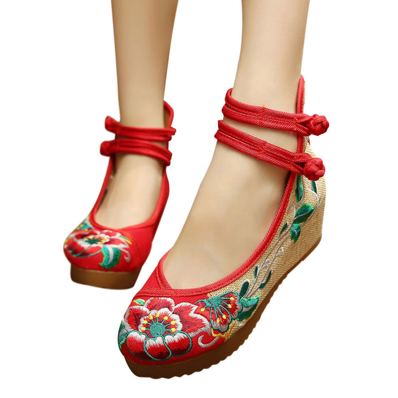 Old Beijing Mary Jane Flats Chinese Embroidered Flower ...